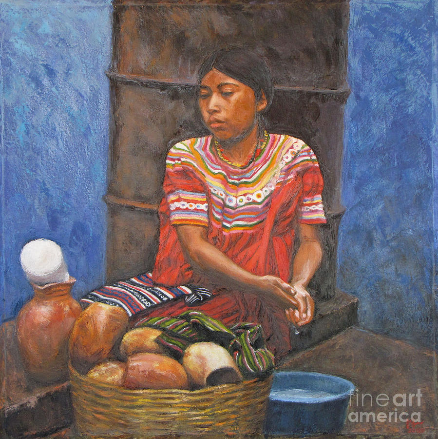 Indigenous Girl Painting - Market Girl Selling Atole by Judith Zur