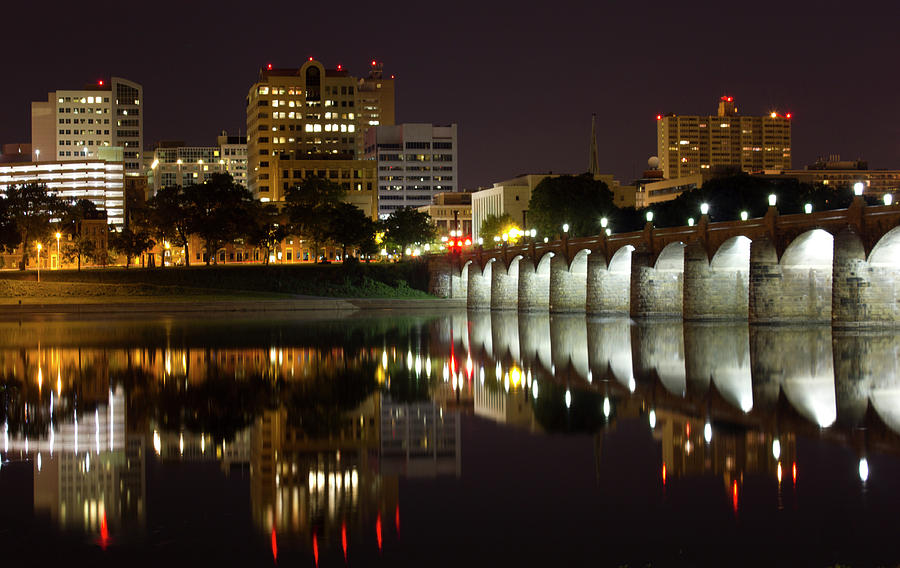 City Photograph - Market Street Bridge Reflections by Shelley Neff