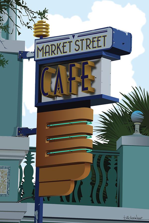 Cafe Digital Art - Market Street Cafe by Bill Dussinger