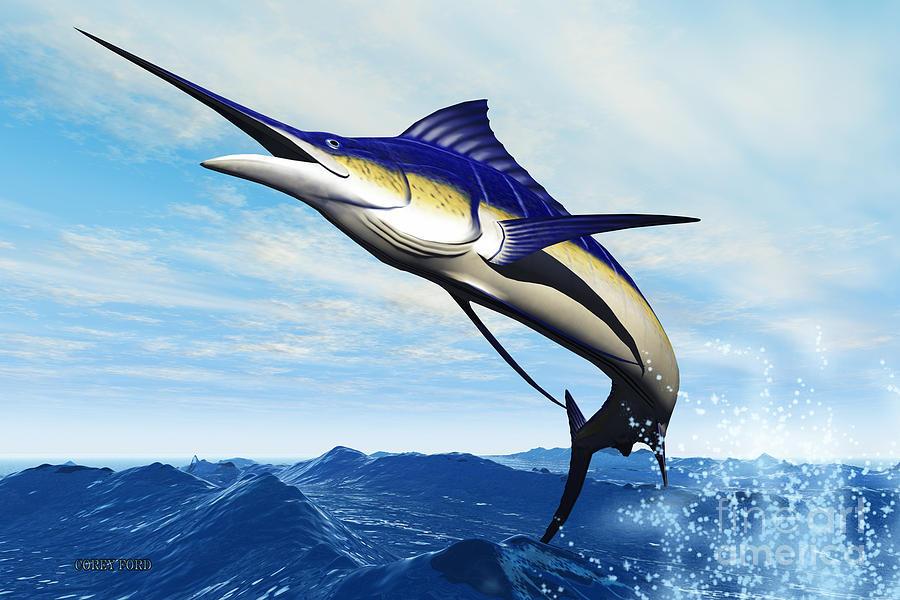 Marlin Painting - Marlin Jump by Corey Ford