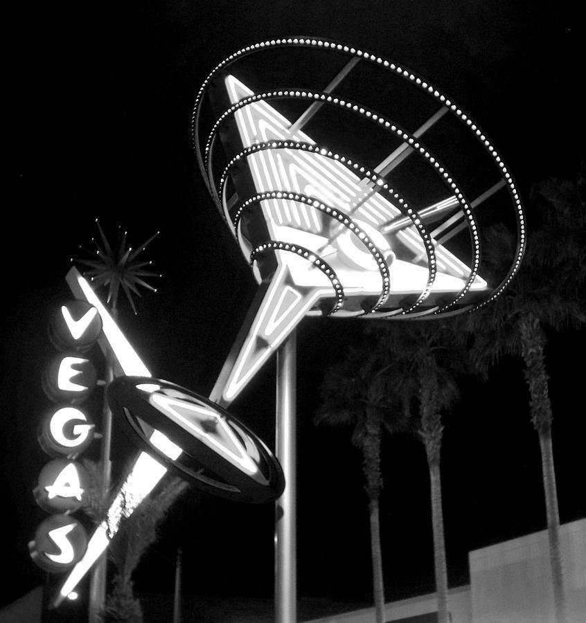 Martini Sign In Vegas B-w Photograph