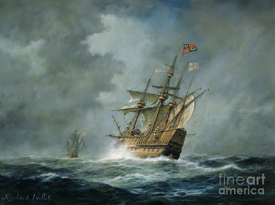 Ship; Ships; Boat; Boats; Tumultuous Seas; Stormy; Water; English Flag; Banner; Sailing; Henry Viii; Grey; Darkened; Ominous Skies; Sky; Wave; Waves; Sea Painting - Mary Rose  by Richard Willis