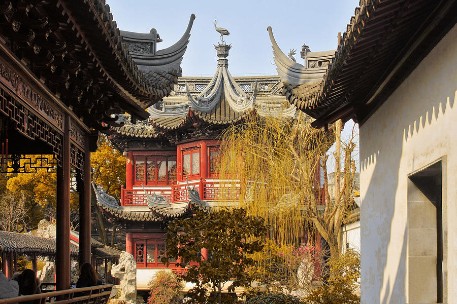 Eaves Photograph - Massive Upturned Eaves - Yuyuan Garden Shanghai China by Christine Till