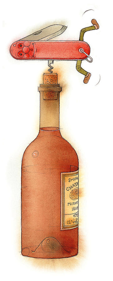 Bottle Wine Knife Kitchen Red Painting - Master Pocketknife 02 by Kestutis Kasparavicius