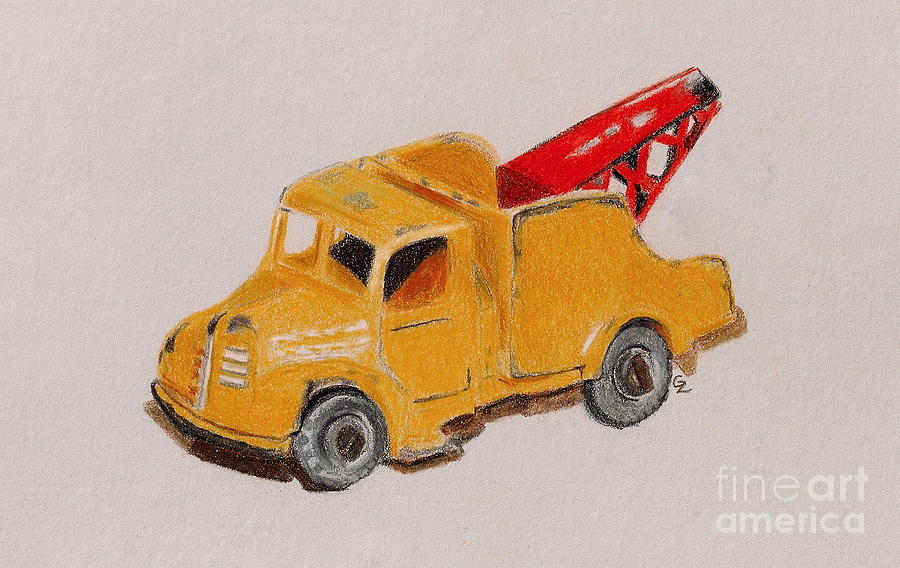 Drawing Drawing - Matchbox Tow Truck by Glenda Zuckerman