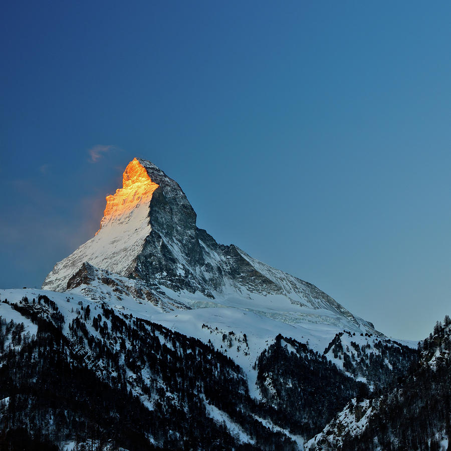 Square Photograph - Matterhorn Switzerland Sunrise by Maria Swärd