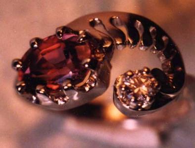 Lady's Sapphire & Diamond Jewelry - Mauve Sapphire And Diamond Ring by Tim Haley