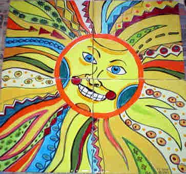 Mayan Sun God Painting - Mayan Sun God by Dy Witt