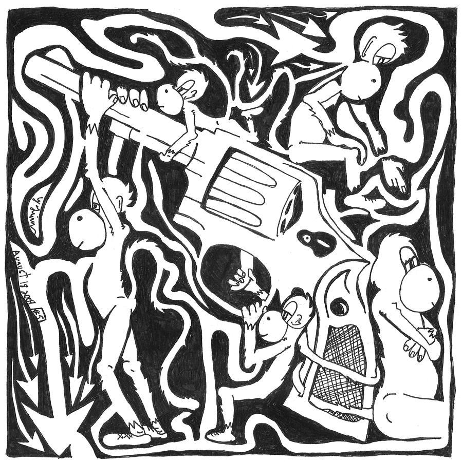 Monkeys Painting - Maze Of A Team Of Monkeys Firing A Service Revolver by Yonatan Frimer Maze Artist