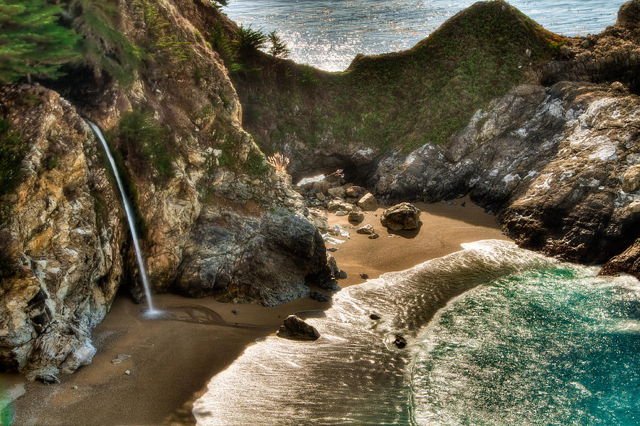 Beach Photograph - Mcway Falls Hwy 1 California by Connie Cooper-Edwards