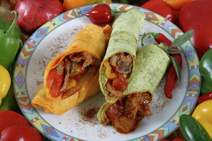 Meat And Vegetable Wrap Photograph