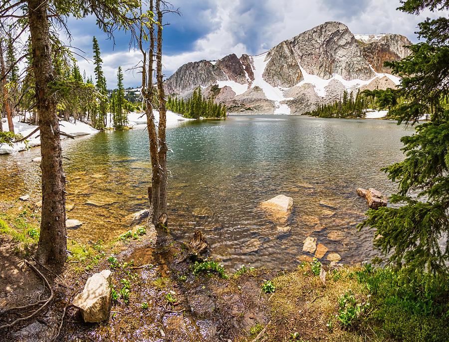 Medicine Bow Snowy Mountain Range Lake View Photograph
