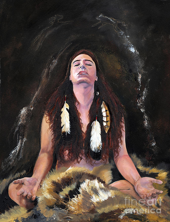 Southwest Art Painting - Medicine Woman by J W Baker