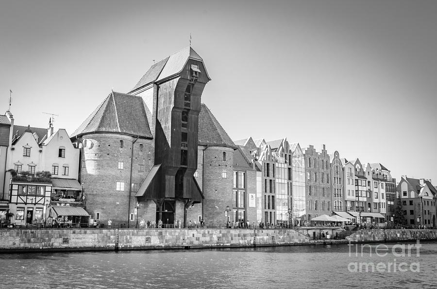 Medieval Crane, Gdansk Bw Photograph