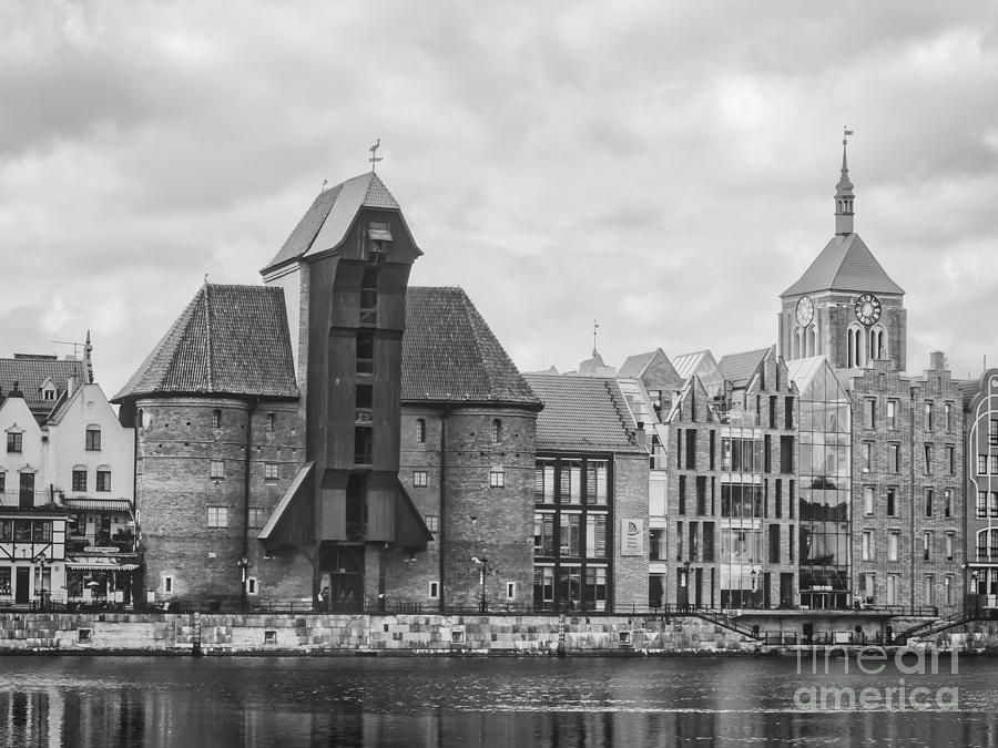 Medieval Crane In Gdansk Bw Photograph