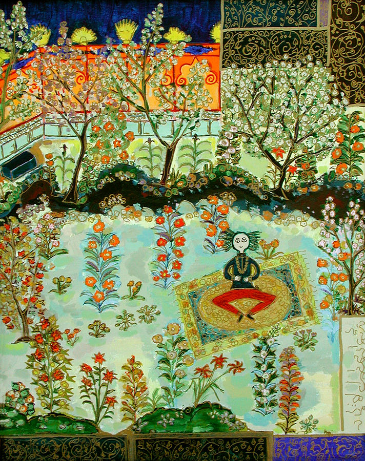 Garden Painting - Meditating Master In Courtyard by Maggis Art