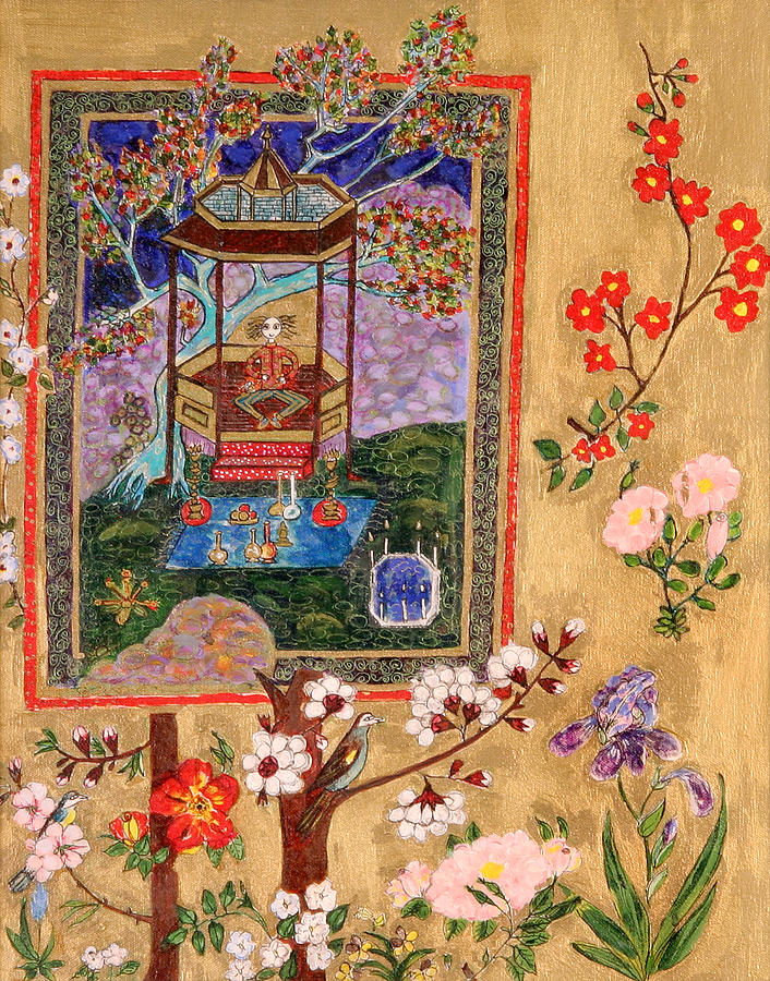 Flowers Painting - Meditating Master In Tent by Maggis Art