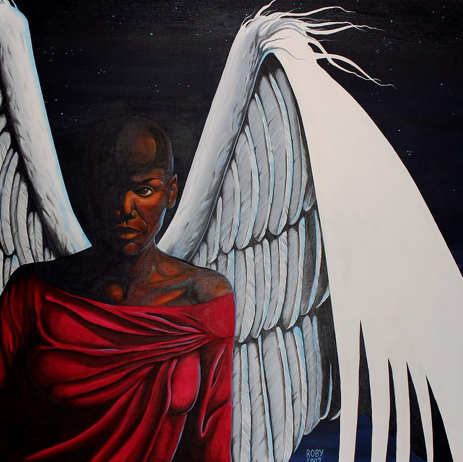 African American Female Angel In Red With White Wings Painting - Meditation by William Roby