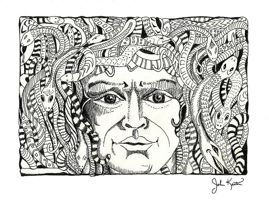Medusa Drawing - Medusa by John Keaton