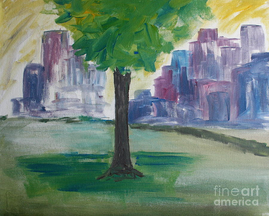 Paintings Painting - Meet Me By Our Tree In Central Park by Julie Lueders