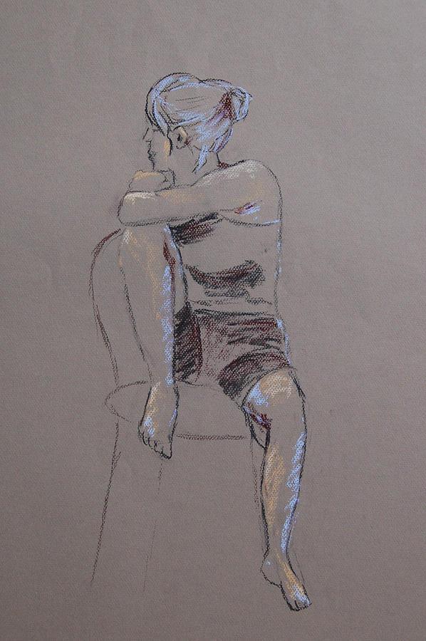 Portrait Drawing - Megan Seated by Marina Garrison