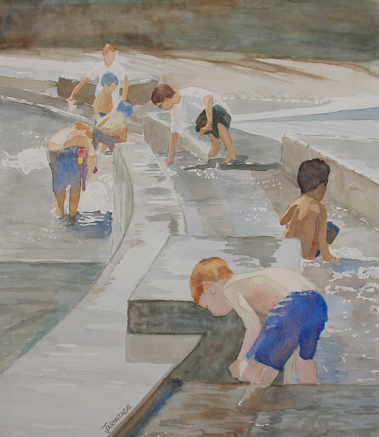 Boys Painting - Memorial Day Waterworks by Jenny Armitage