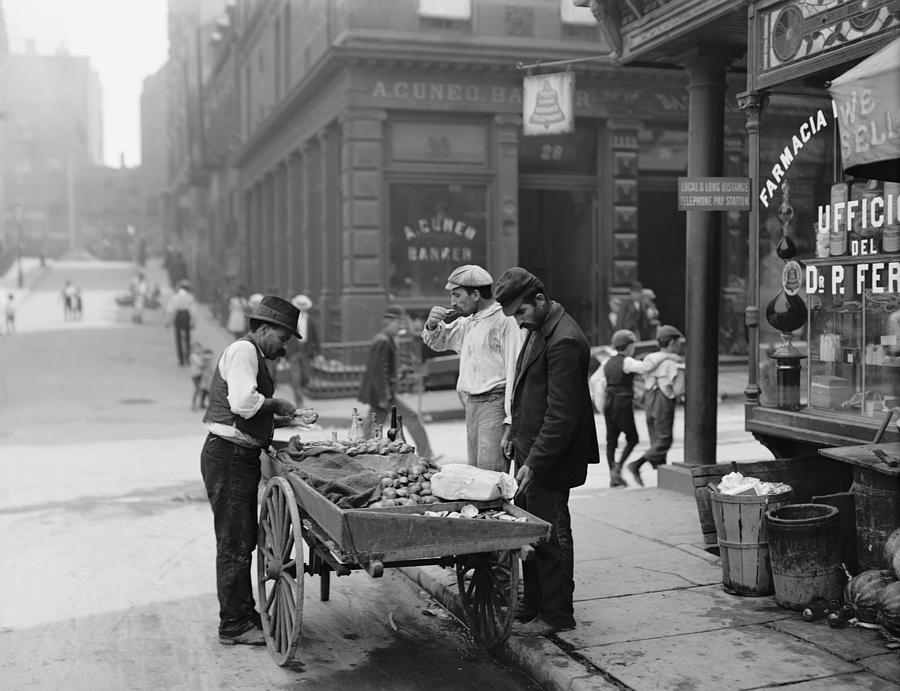 History Photograph - Men Eating Fresh Clams From A Pushcart by Everett