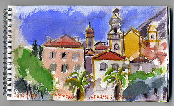 Lanscape Painting - Menton  French Riviera by Chevassus-agnes Jean-pierre