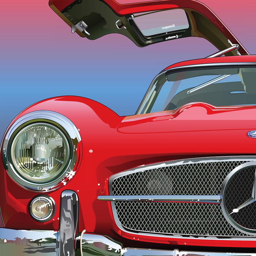 Automotive Art Drawing - Mercedes 300 Sl Gullwing Detail by Alain Jamar