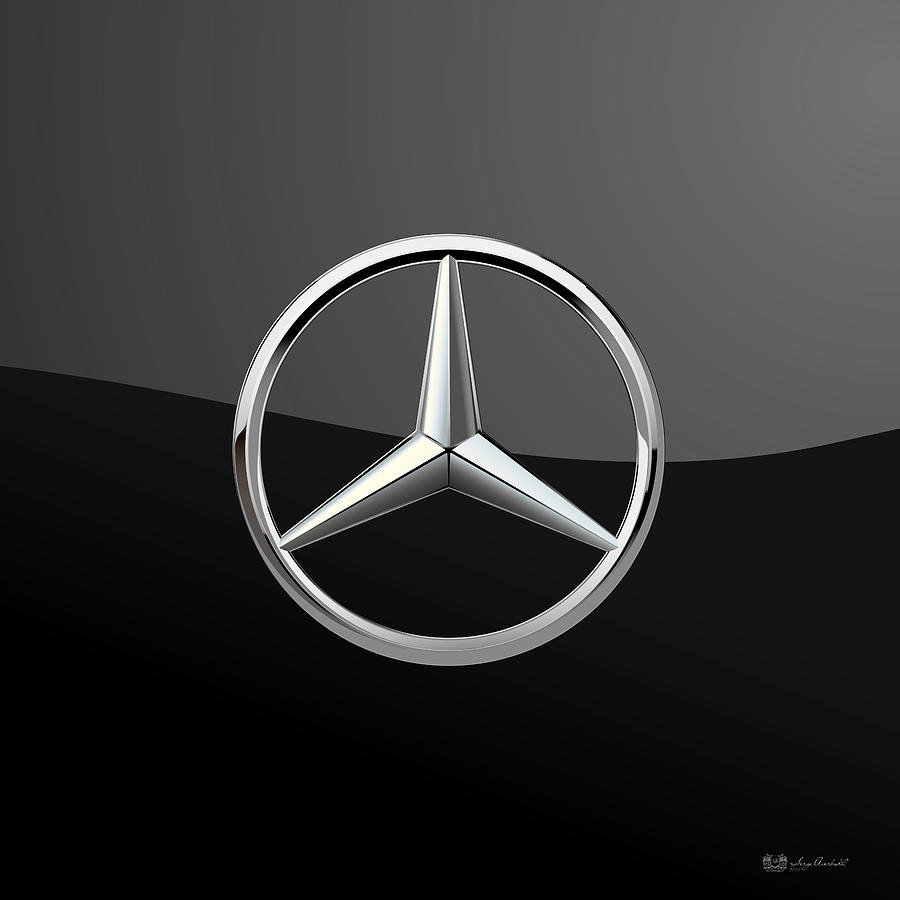mercedes benz 3d badge on black digital art by serge