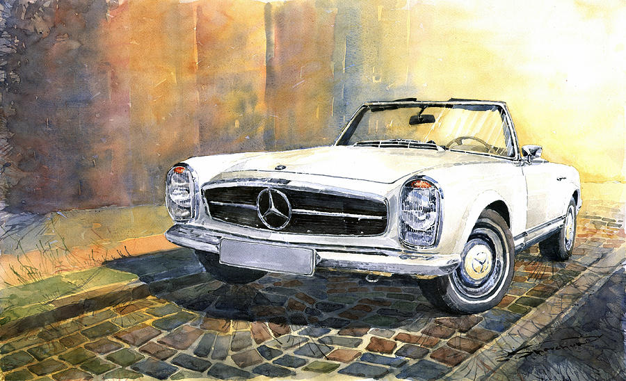 Mercedes benz w113 280 sl pagoda front painting by yuriy for Mercedes benz w113