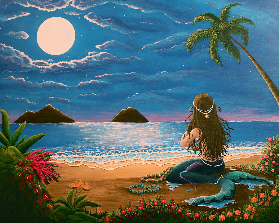 Tropical Painting - Mermaid Making Leis by Gale Taylor