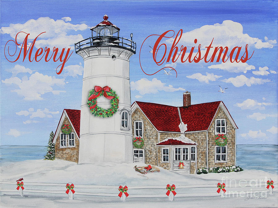 Merry Christmas Lighthouse Jp3904 Painting By Jean Plout