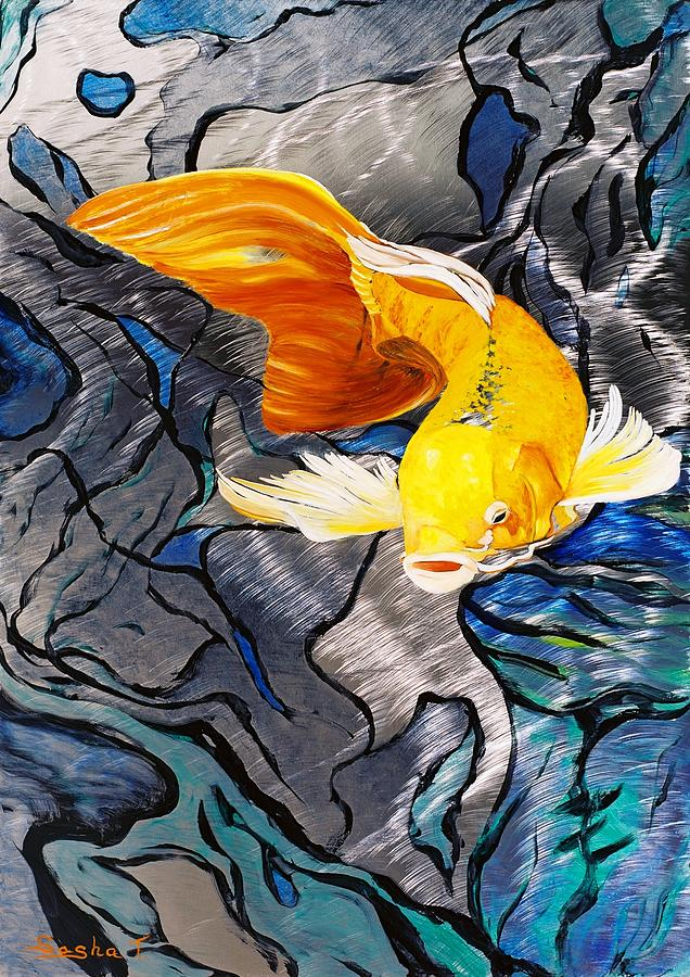 Metal koi fish metal art print koi aluminum giclee art for Koi fish metal art