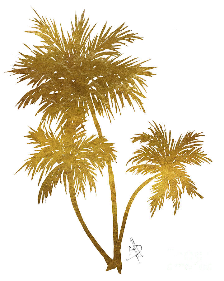 Metallic Gold Palm Trees Tropical Trendy Art Painting By