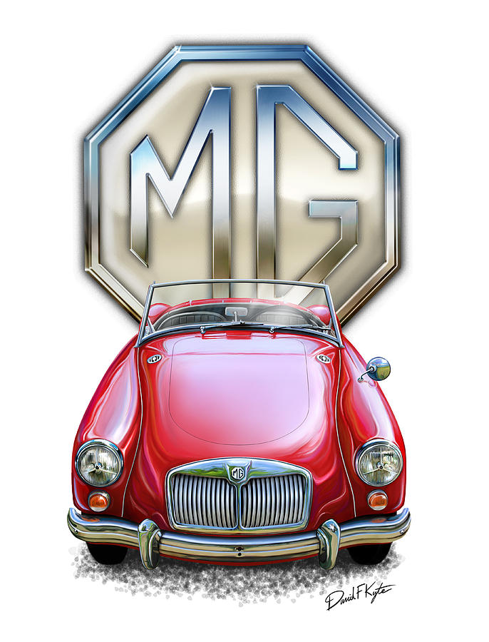 Mga Digital Art - Mga Sports Car In Red by David Kyte