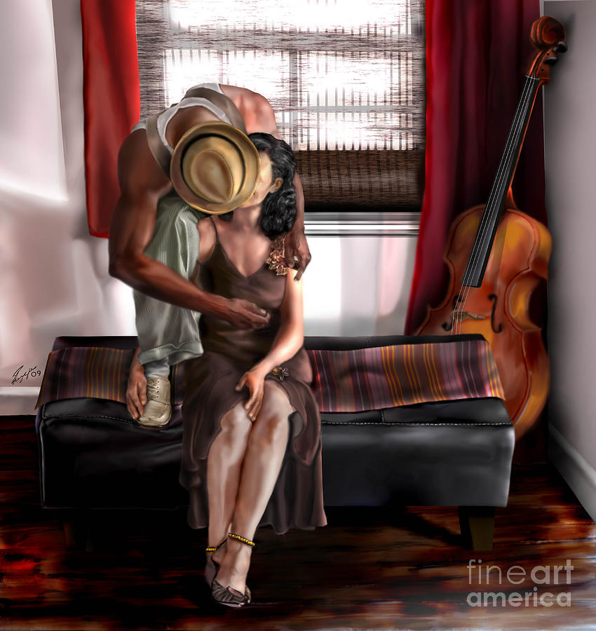 Cello Painting - Mi Chica-amo A Mi Esposita  by Reggie Duffie