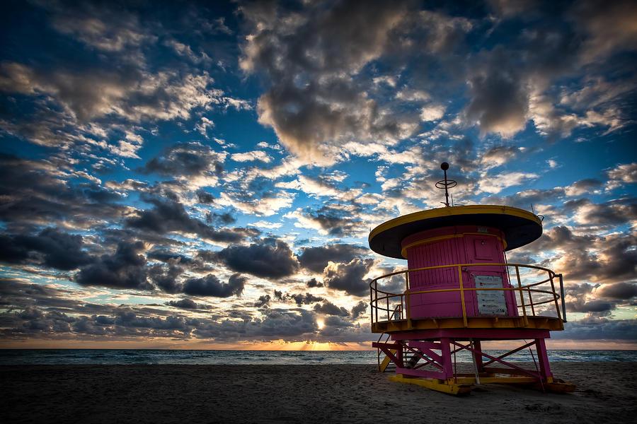 Miami Photograph - Miami Dawn by Dave Bowman