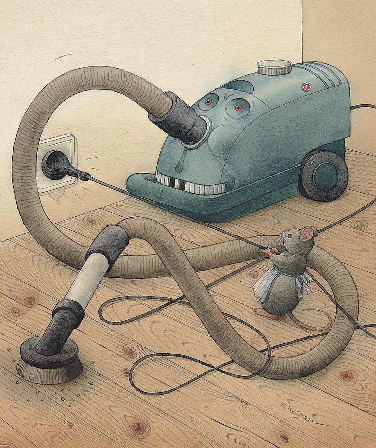 Mice Monster Vacuum-cleaner Brown Painting - Mice And Monster by Kestutis Kasparavicius