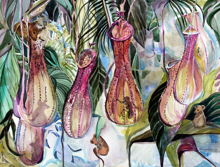 Plants Painting - Mice In The Pitchers by Mindy Newman