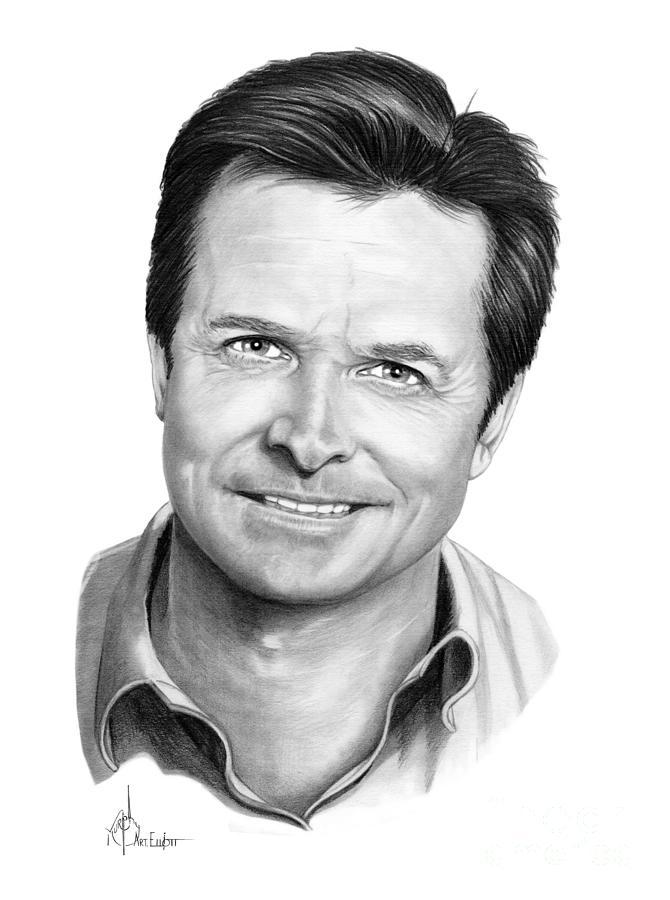 Michael J. Fox Drawing - Michael J. Fox by Murphy Elliott