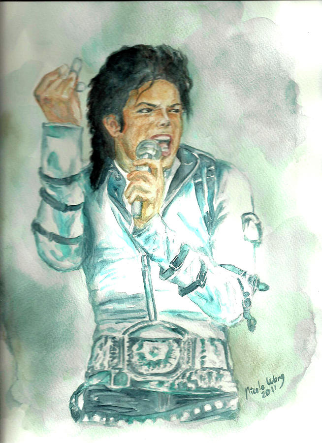 Michael Jackson Painting - Michael Jackson Bad Tour by Nicole Wang