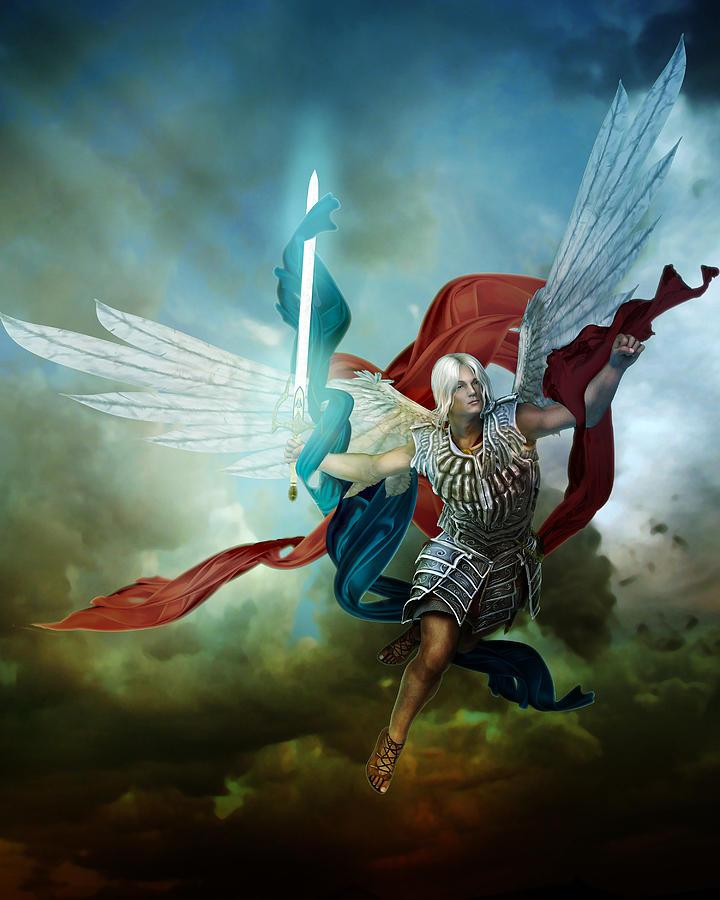 Arch Angel Digital Art - Michael by Mary Hood