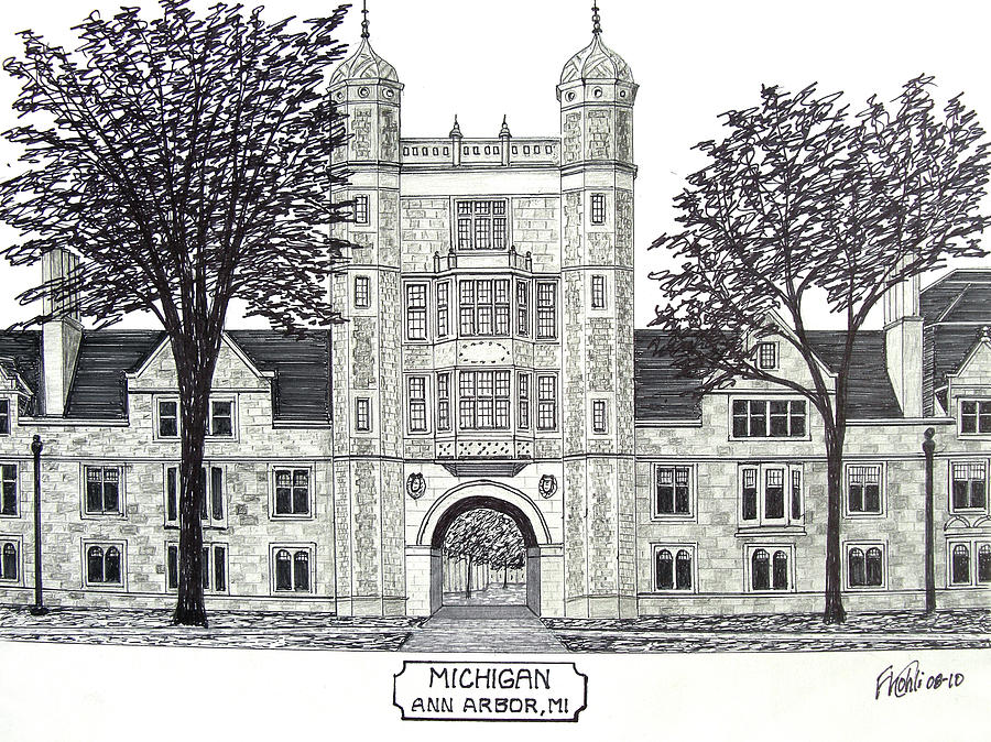 Pen And Ink Drawings Drawing - Michigan by Frederic Kohli