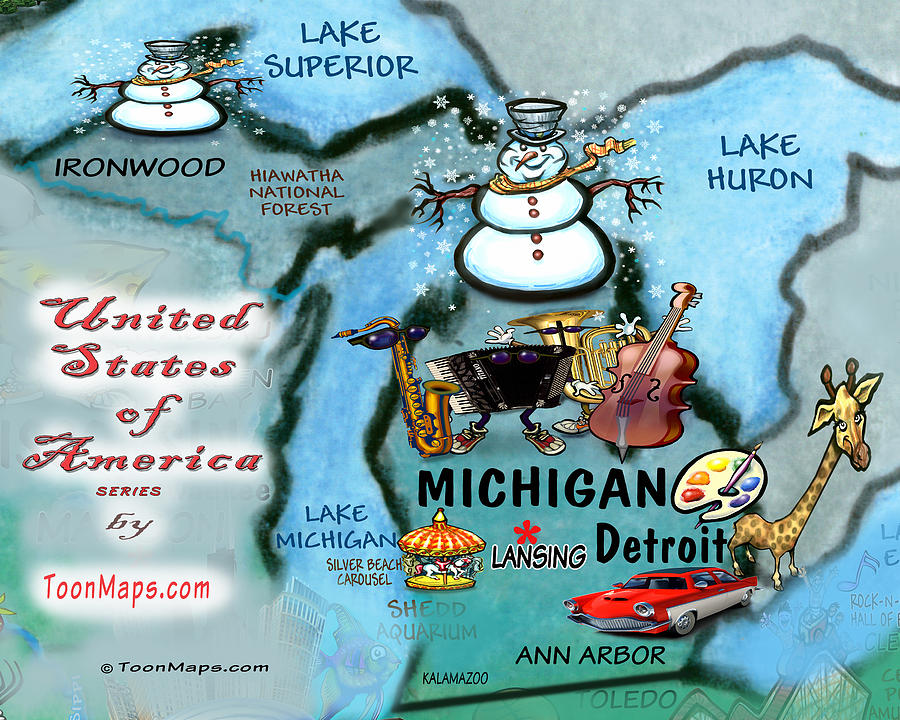 Michigan Fun Map Digital Art