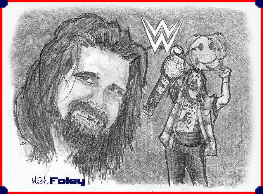 Wwf Drawing - Mick Foley by Chris  DelVecchio