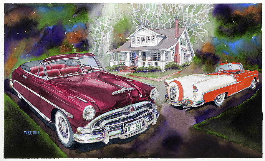 Hudson 1953 1955 Chev Chevrolet Bel Air Hornet Convertible Watercolor Continental Kit House Porch Forest Grove Concours Concours \'d Elegance 2011 Fifties Mid Century Classic Antique Collector Cars Automobile Painting - Mid Century Classics by Mike Hill