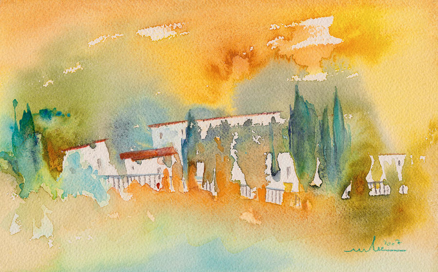 Watercolour Landscape Painting - Midday 07 by Miki De Goodaboom
