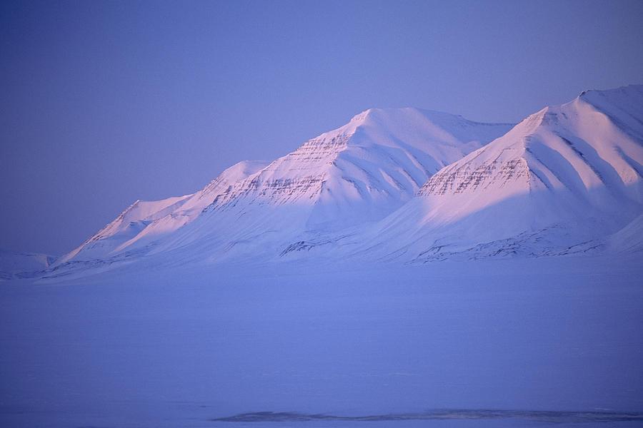 Spitsbergen Photograph - Midnight Sunset On Polar Mountains by Gordon Wiltsie