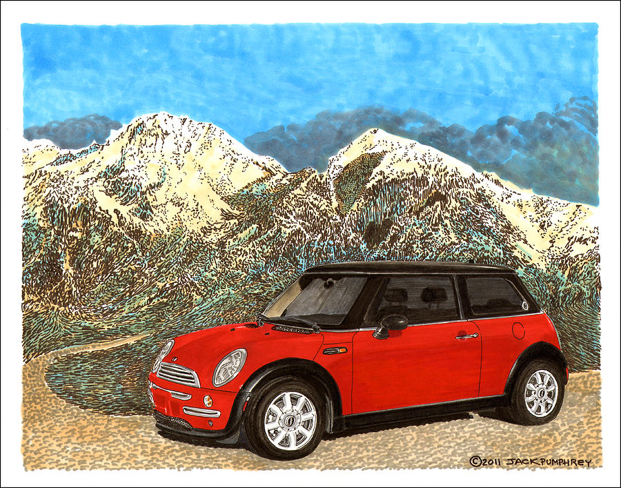 Mini-cooper S On A Ridge Overlooking The Organ Mountains-desert Peaks National Monument Painting - Mighty Mini Cooper S by Jack Pumphrey